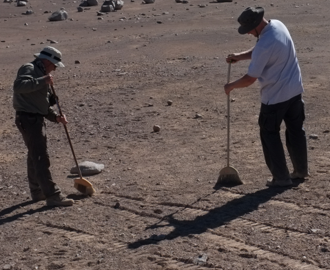 Michel and Andy sweeping the desert. credit: Sev Gunes-Lasnet (RAL Space)